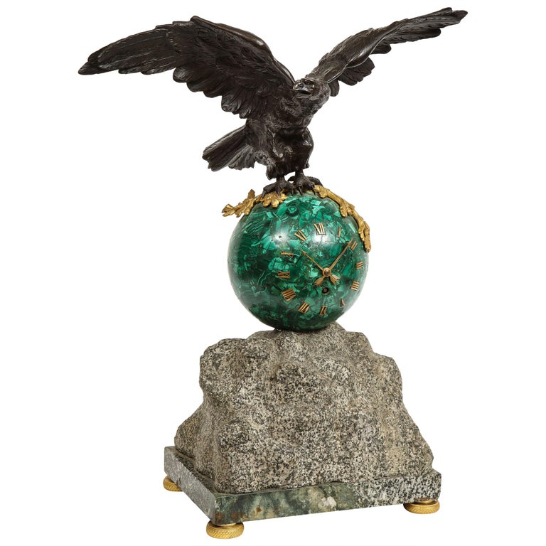 Patriotic French Patinated Bronze Eagle and Malachite Clock on Granite Base 1889 For Sale