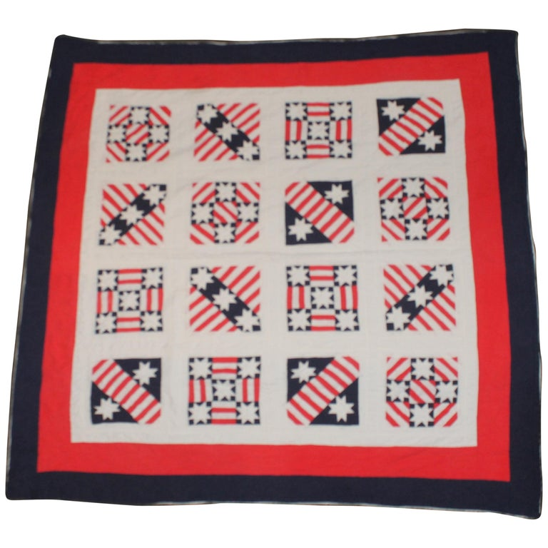 Patriotic Red, White and Blue Quilt Dated For Sale