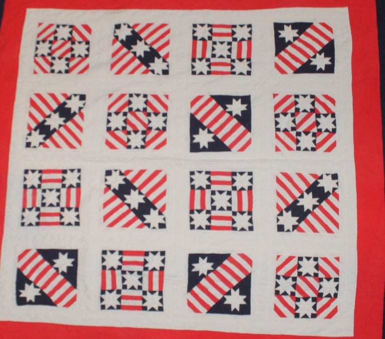 Country Patriotic Red, White and Blue Quilt Dated For Sale