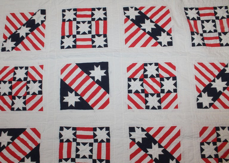 American Patriotic Red, White and Blue Quilt Dated For Sale