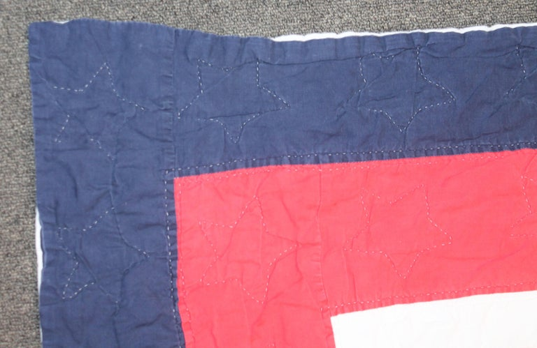 Patriotic Red, White and Blue Quilt Dated In Good Condition For Sale In Los Angeles, CA