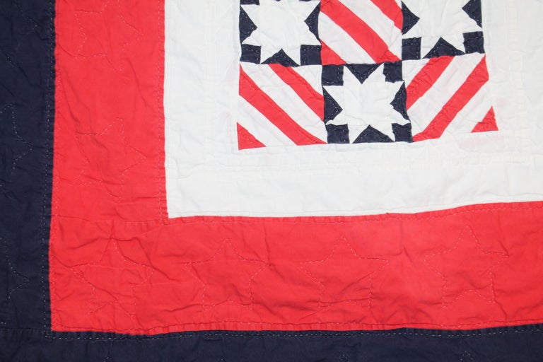 20th Century Patriotic Red, White and Blue Quilt Dated For Sale