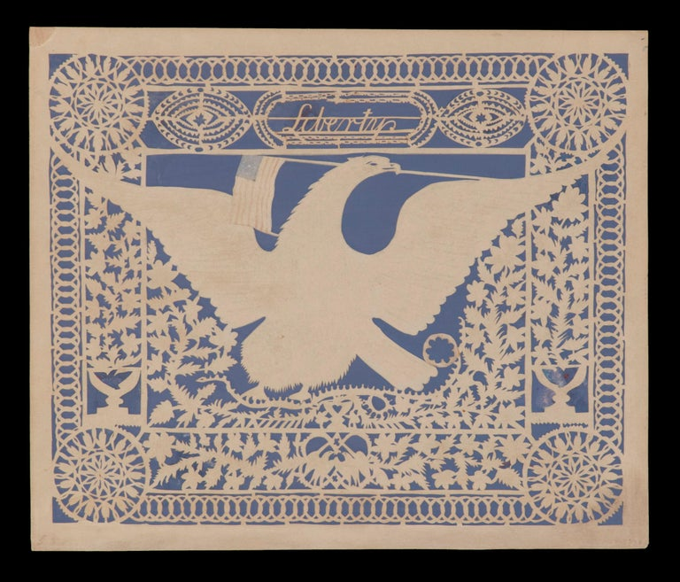 """EXCEPTIONAL PATRIOTIC SCHERENSCHNITTE (PAPER CUTTING), IN THE STYLE OFTEN ATTRIBUTED TO ISAAC STIEHLY, ENTITLED """"LIBERTY,"""" WITH IMAGERY THAT INCLUDES AN AMERICAN EAGLE WITH A 14 STAR, 14 STRIPE FLAG IN ITS BEAK, A RATTLESNAKE, LOVE BIRDS, AND EAGLES"""