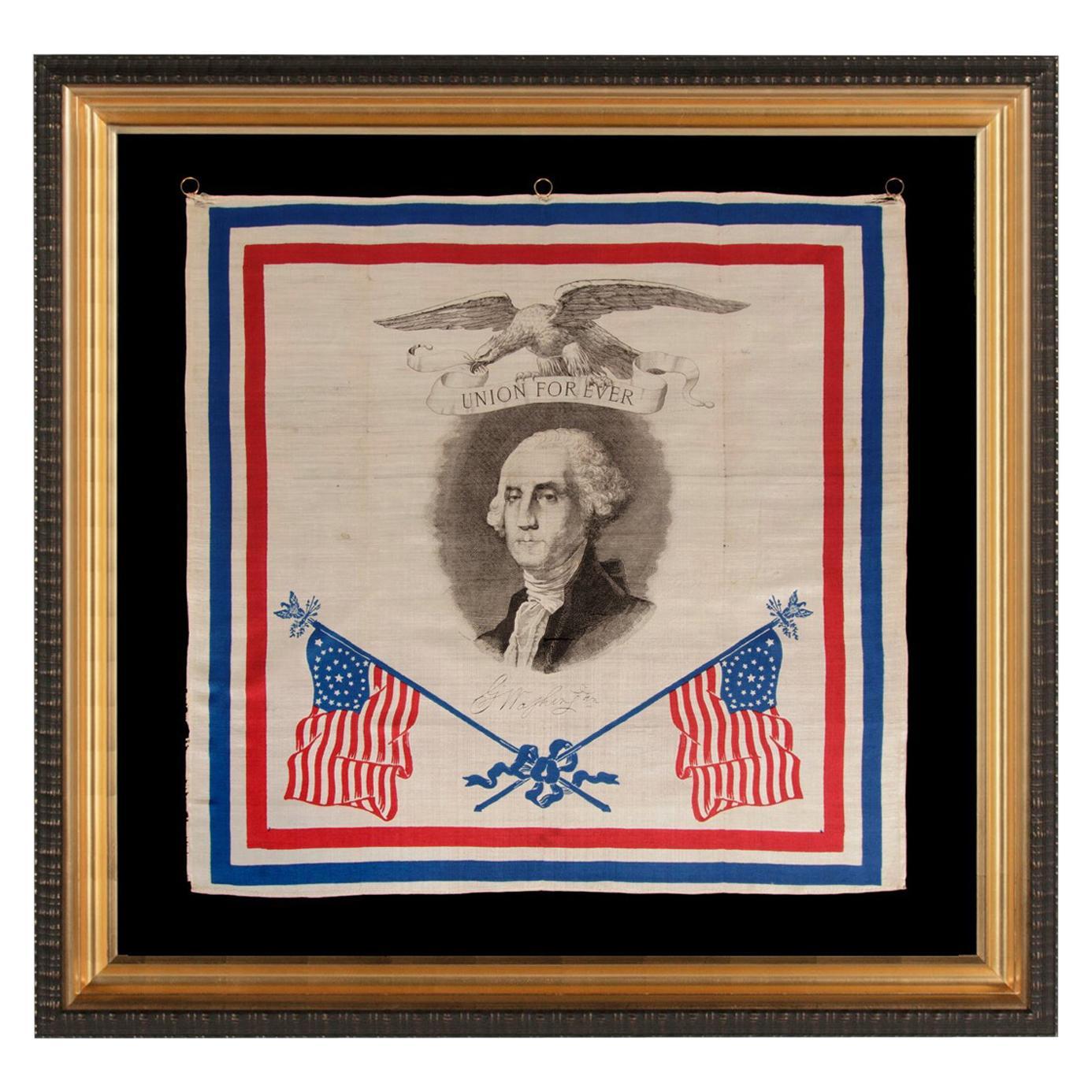 Patriotic Silk Kerchief w/ 34 Star Flags & an Image of Washington, Civil War Era