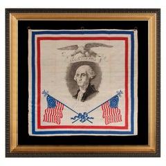 Patriotic Silk Kerchief w/ 34 Star Flags & an Image of Washington, Civil War Era