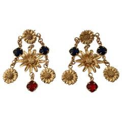 Patrizia Daliana Bronze and Faceted Murano Glass Chandelier Earrings