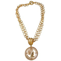 Patrizia Daliana Bronze Chain with Roman Head Pendant Necklace