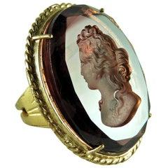 Patrizia Daliana Bronze Engraved Amethyst Murano Glass Cocktail Ring