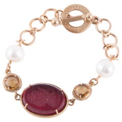 Patrizia Daliana Murano Glass Cameo Chain bracelet