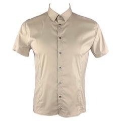 PATRIZIA PEPE Size L Ivory Cotton Blend Button Up Short Sleeve Shirt