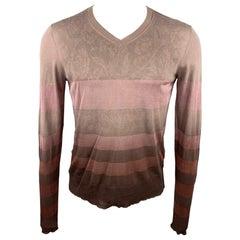 PATRIZIA PEPE Size M Taupe & Brown Ombre Cotton / Silk V-Neck Pullover
