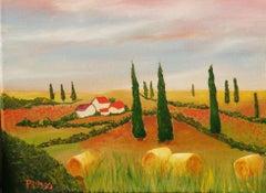 Impressionist Tuscan Landscape Painting 1985