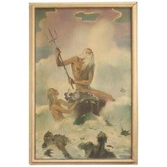 Patrone 20th Century Oil on Canvas Italian Signed Mythological Neptune Painting