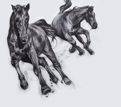 Bullet With Butterfly Wings, dynamic realistic Horse drawing, charcoal on paper