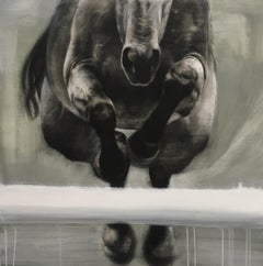 Head On - Contemporary, Equestrian, Abstract, Jumping