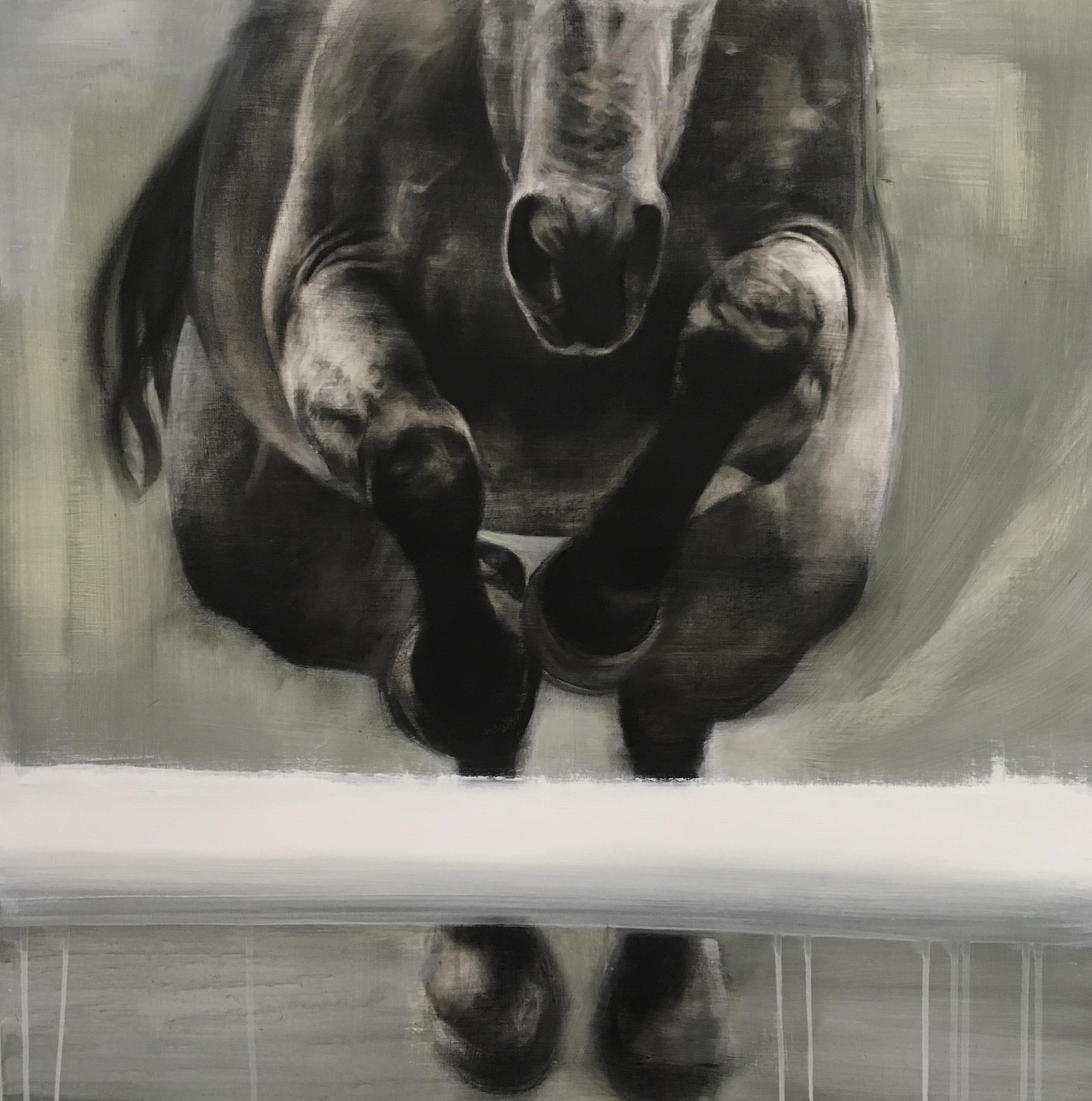 Patsy Mcarthur Head On Realistic Dynamic Horse Painting On Wooden Panel For Sale At 1stdibs