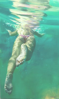 """Lift Off"", Underwater female swimmer and soothing green water, Oil on canvas"