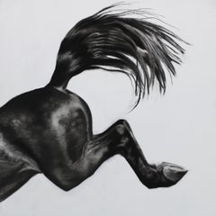 Over the Edge, Horse art by Patsy McArthur, Charcoal, gesso and acrylic on wood