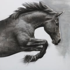 Powder Boy, Horse Drawing, Charcoal, gesso and acrylic wooden panel.