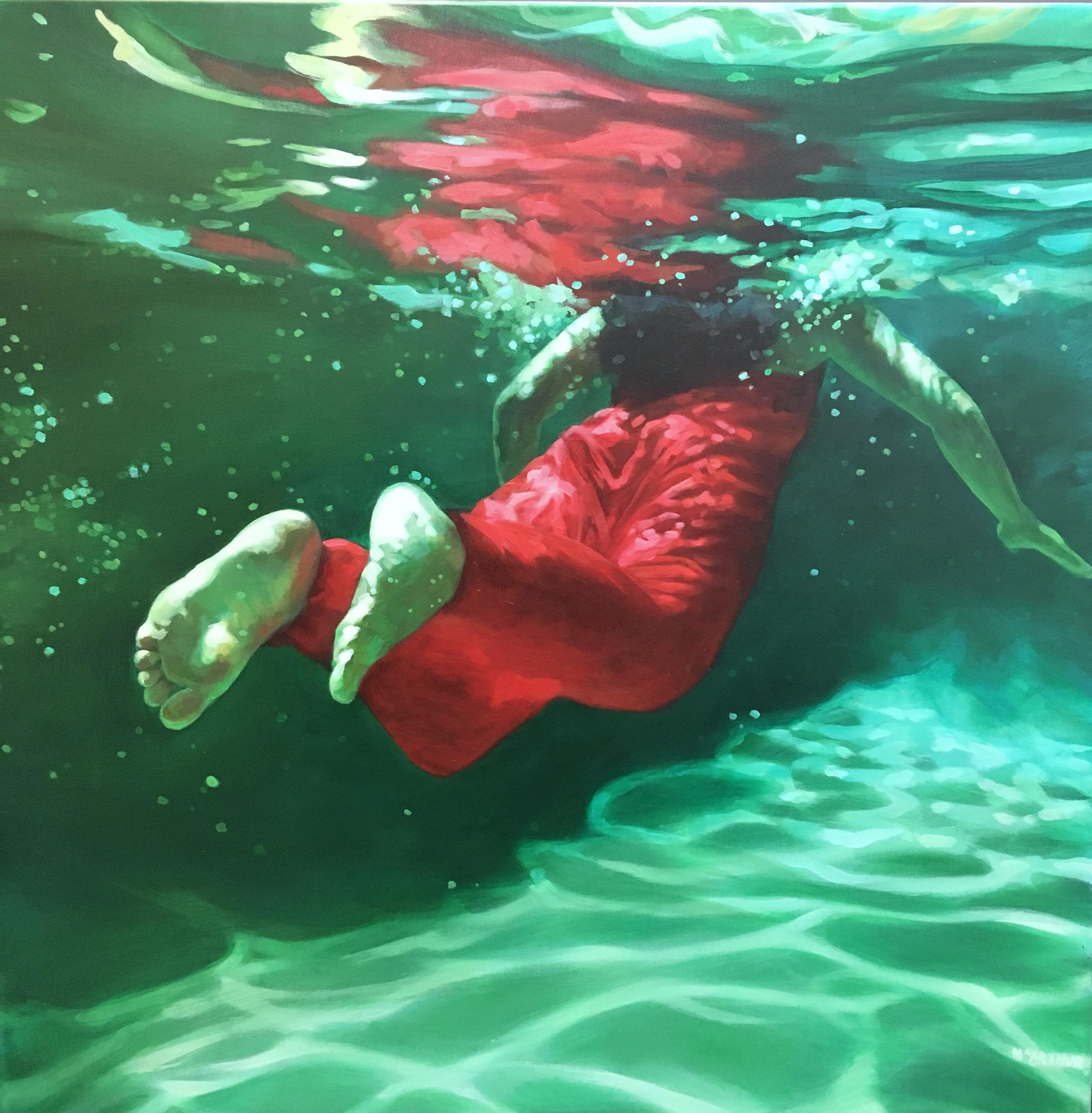 """""""Prism"""", Oil on canvas, underwater female swimmer with red dress, green water"""