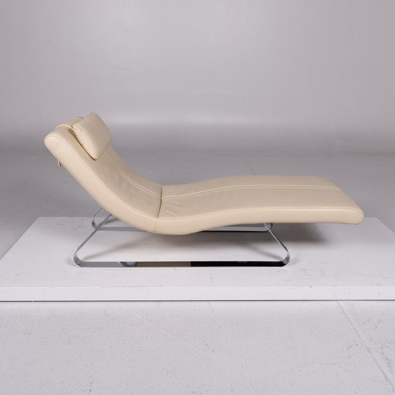 Modern Pattern Ring Leather Lounger Cream Relax Lounger For Sale