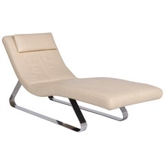 Pattern Ring Leather Lounger Cream Relax Lounger