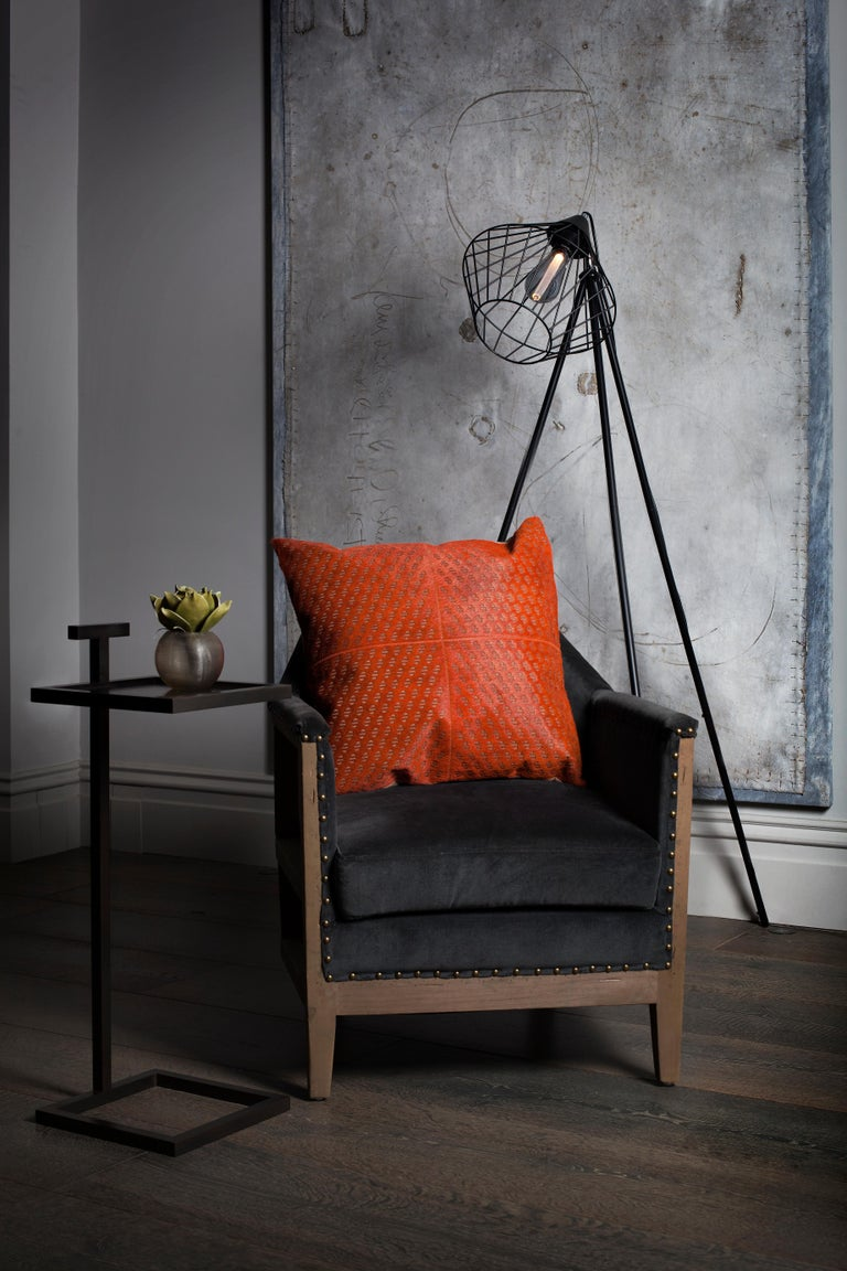 Brazilian Patterned Cowhide Cushions Burnt Orange and Leather Zip Tassels For Sale