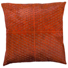Patterned Cowhide Cushions Burnt Orange and Leather Zip Tassels