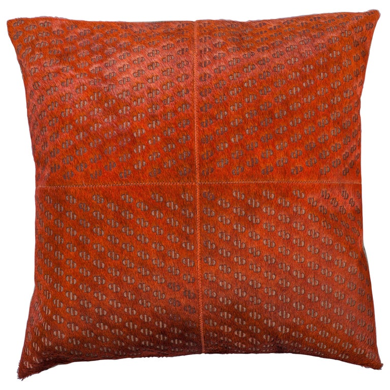 Patterned Cowhide Cushions Burnt Orange and Leather Zip Tassels For Sale