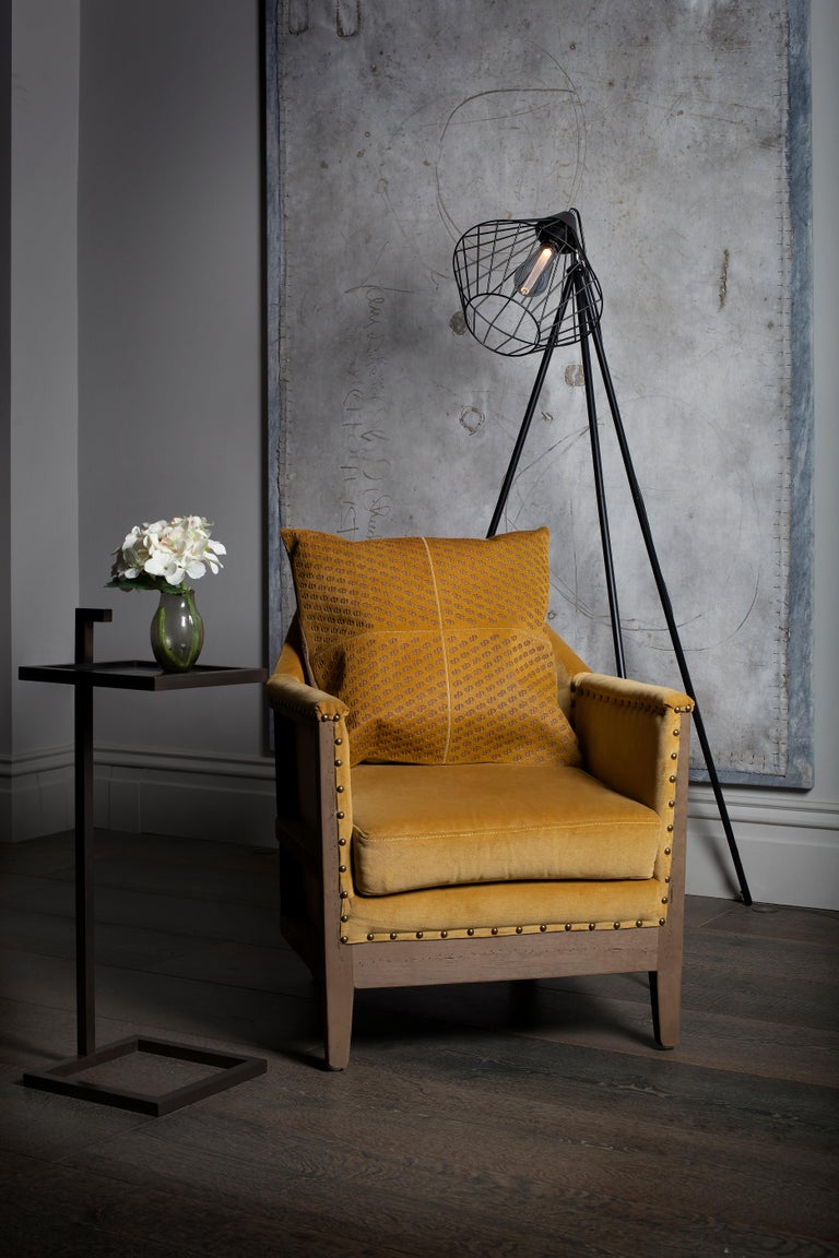 Modern Patterned Cowhide Cushions Mustard with Suedette Back and Leather Zip Tassels For Sale