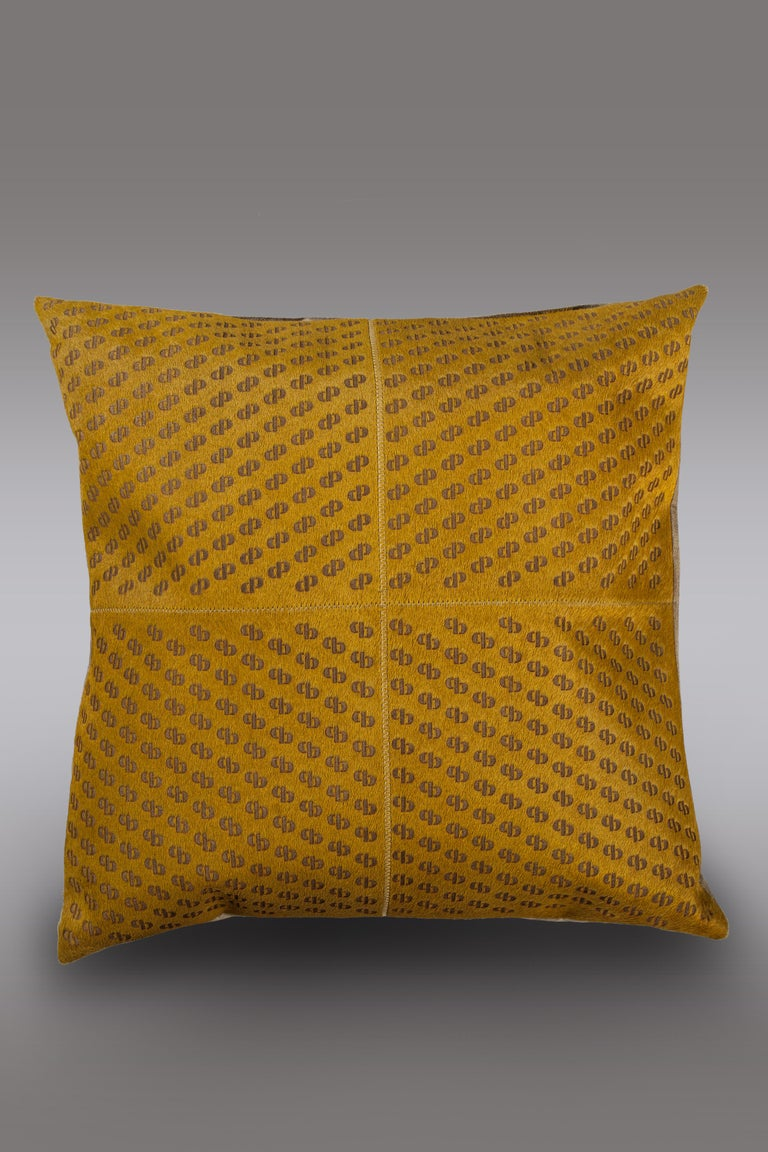 Brazilian Patterned Cowhide Cushions Mustard with Suedette Back and Leather Zip Tassels For Sale