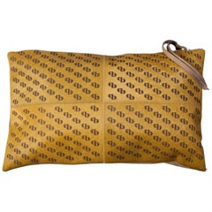 Patterned Cowhide Cushions Mustard with Suedette Back and Leather Zip Tassels