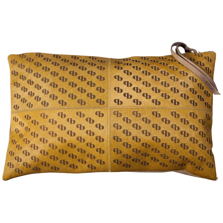 Patterned Cowhide Cushions Mustard with Suedette Back and Leather Zip Tassels For Sale