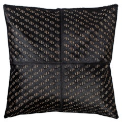 Patterned Cowhide Cushions Pitch Black and Leather Zip Tassels
