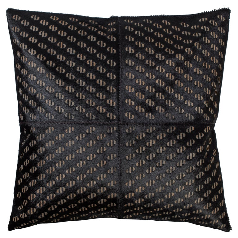 Patterned Cowhide Cushions Pitch Black and Leather Zip Tassels For Sale