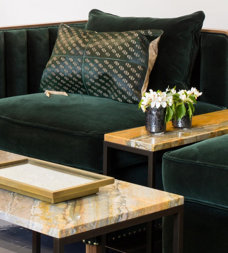 Patterned Cowhide Cushions Seaweed Green and Leather Zip Tassels For Sale 3