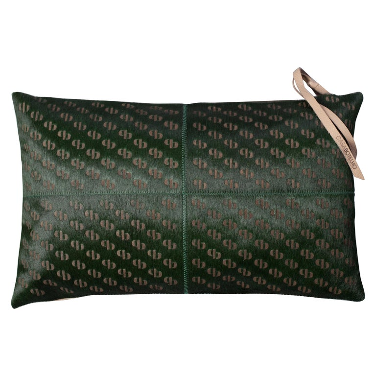 Patterned Cowhide Cushions Seaweed Green and Leather Zip Tassels For Sale