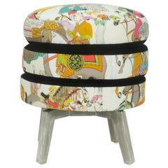 Patterned Three Layered Cushioned Ottoman Stool with Black Velvet Accent Fabric