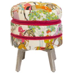 Patterned Three Layered Cushioned Ottoman Stool with Pink Velvet Accent Fabric