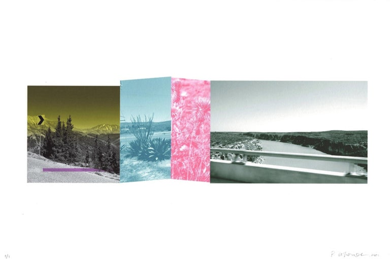 """Patty deGrandpre Landscape Print - """"Are We There Yet? (a bit of Colorado & a lot of Texas)"""", abstract, print, green"""