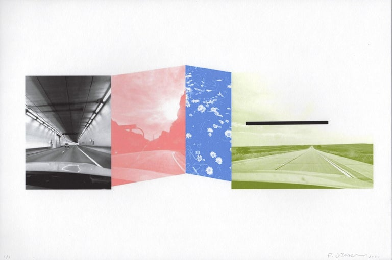 """Patty deGrandpre Landscape Print - """"Are We There Yet? (Colorado)"""", abstract, print, black, green, blue, pink"""