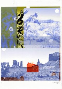 """Blue Utah / Orange House"", abstract, photography, mixed media, landscape"