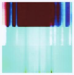 """Broken Television 300"", photo, digital print, abstract, graphic, blue, maroon"
