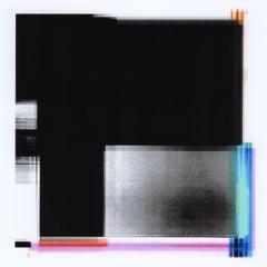 """Broken Television 316"", digital print, abstract, minimalist, pink, black, white"