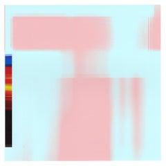 """Broken Television 322"", digital print, photo, abstract, blue, pink, rainbow"