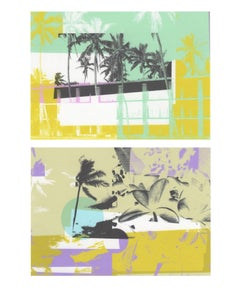 """Greetings from Hawaii"", print, abstract, architecture, flora, yellow, green"