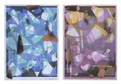 """Happy Dance"", abstract, monoprint, diptych, blue, black, pink, yellow, orange"