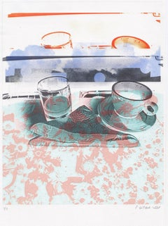 """""""Juice & Coffee (at the Table)"""", abstract, photography, cup, pink, turquoise"""