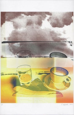 """""""Juice & Coffee"""", abstract, photography, cup, warm yellows, violet, sephia"""