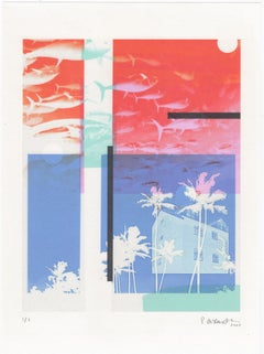 """""""Kauai, Island Life"""", photo, abstract, landscape, blue, turquoise, red, pink"""